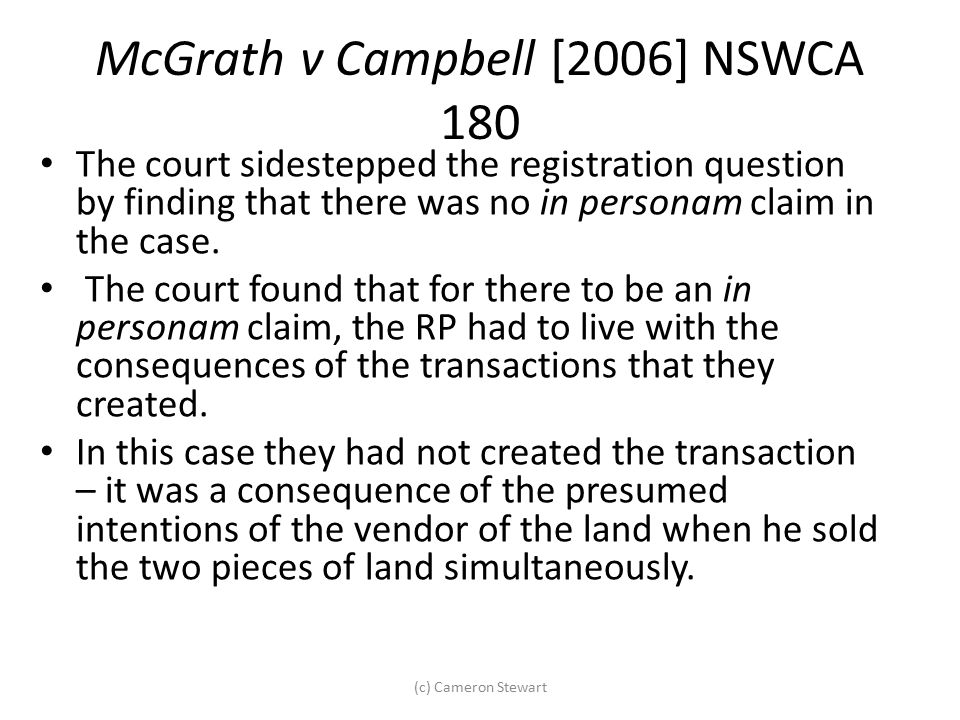 McGrath v Campbell [2006] NSWCA 180